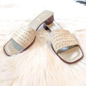 Vintage 90s Talbot's Slip On Block Heel Sandals